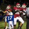 Gianmarco Santiago (82) of Fitchburg celebrates a sack on Leominster quarterback  Tyler Courtemanche (17) in Friday nights JV football game at Doyle Field in Leominster.  SENTINEL & ENTERPRISE JEFF PORTER